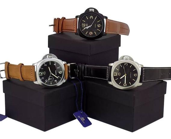 Kit 3 Relógios Masculino Original Couro + Caixa Prova D