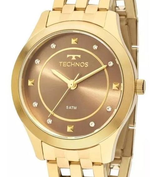 Relógio Technos Feminino Dourado 2036mfb/4m Original C/ Nota