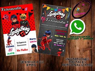 Tarjetas De Invitacion Ladybug Recuerdos Cotillón Y