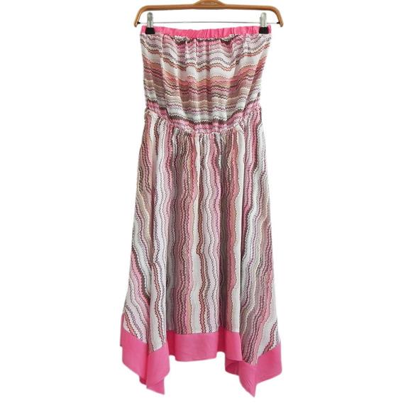 Vestido Irregular Strapless Fibrana Estampada (nuevo!) #vt