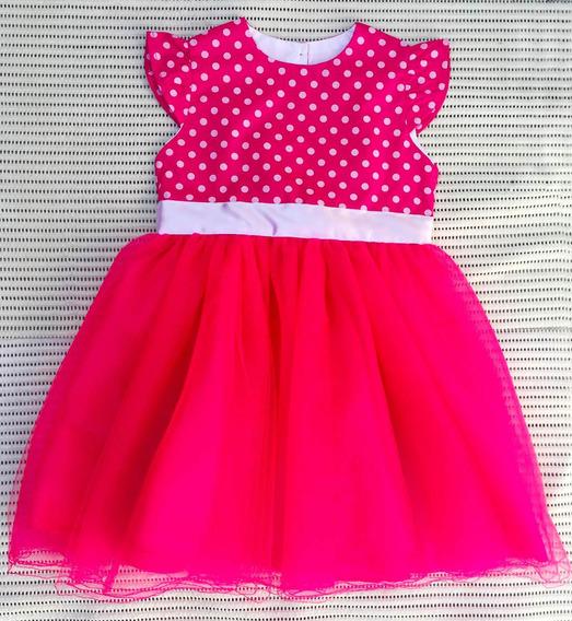 Vestido De Festa Pink Com Saia De Tule