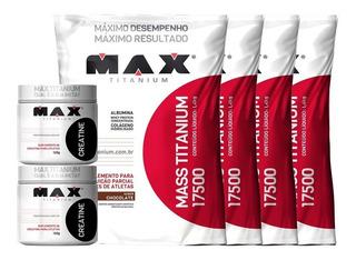 Combo 4x Hipercalórico Mass Titanium + 2x Creatina - Max