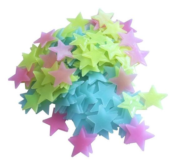 100 Estrelas Neon Coloridas Fluorescentes Teto Brilha Escuro