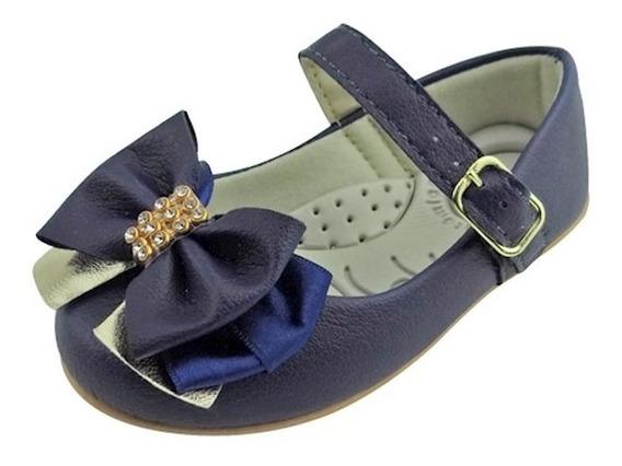Sapato Boneca Baby Com Laço E Strass - Azul