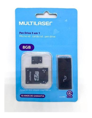 Imagem 1 de 2 de 10 Cartão De Memória Micro Sd 8gb + Adaptador Pen Drive + Sd