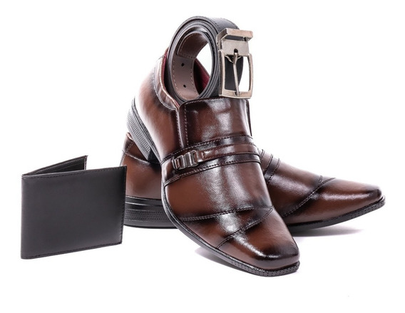 Sapato Masculino Social + Carteira + Cinto Brinde Lançamento