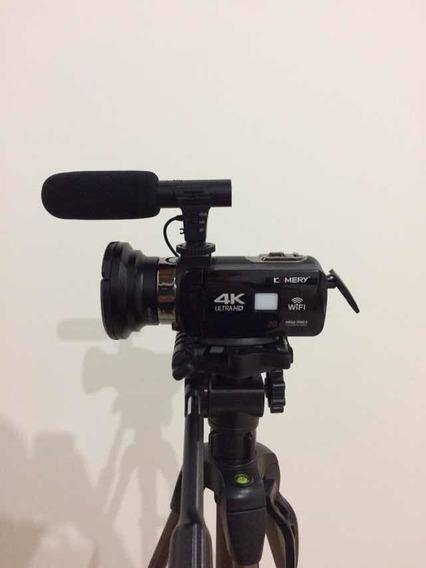 Filmadora Câmera De Vídeo Komery 4k Ultra Hd Com Tripé