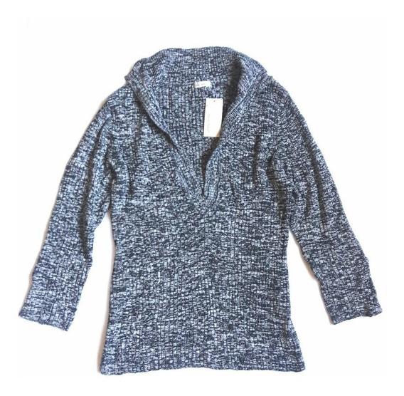 Sweater Chaleco Acanalado Mujer Jaspeado Gris Cuello V T/l