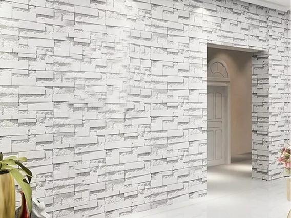 Papel Tapiz Ladrillos A Cuadros Gris Piedra Textura Moderno