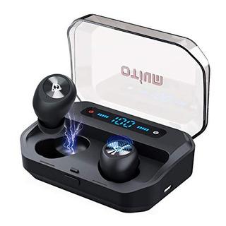 Auriculares Bluetooth Otium Ipx7 Con Estuche Cargador Negro