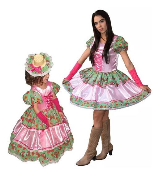 2 Vestidos Festa Junina Caipira Quadrilha Mãe E Filha + Luva