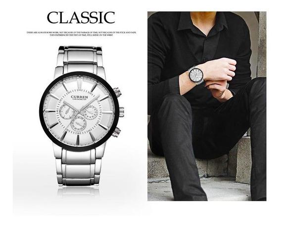 Relógio Curren 8001, Branco Top Quality 4,8 Cm Luxo Original