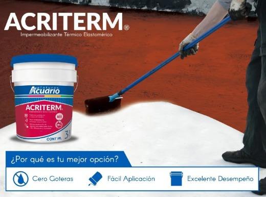 Impermeabilizante Acrílico Acuario 3 Años Rojo Y Blanco