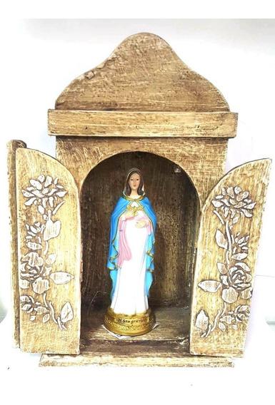 Imagem Nossa Senhora Maria Gravida 17cm E Oratorio Capela