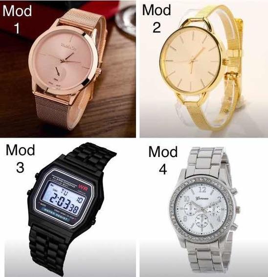 2 Relógio De Pulso Pulseira Metálica - Cor / Modelo Escolher