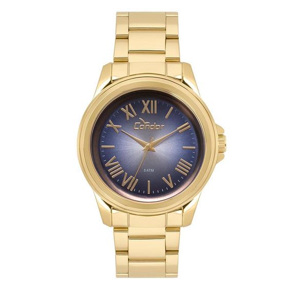 Relógio Feminino Dourado De Pulso Condor Pulseira Metálica