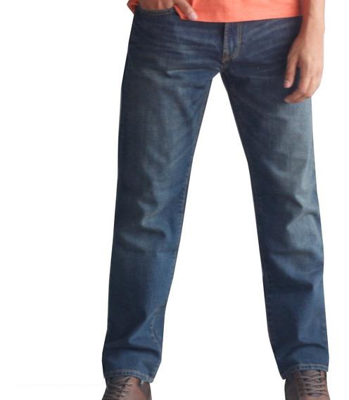 Jeans Hombre Pantalon Mezclilla Straight Recto Azul Gap