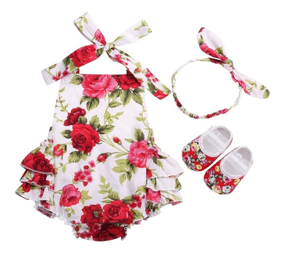 Conjunto Bebe Menina Fashion - Body + Faixa + Sapatinho