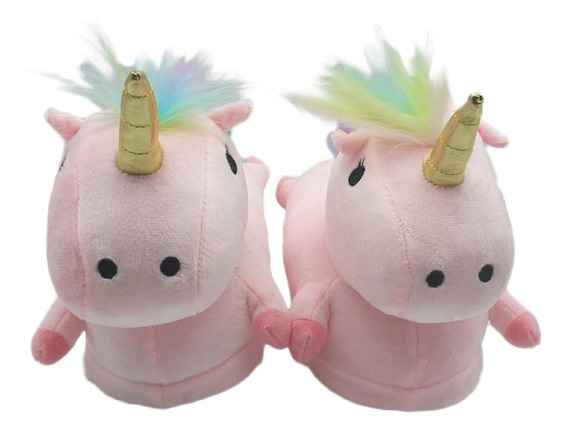 Pantuflas Unicornio Rosa Kawaii Cómodas Adulto Calientitas