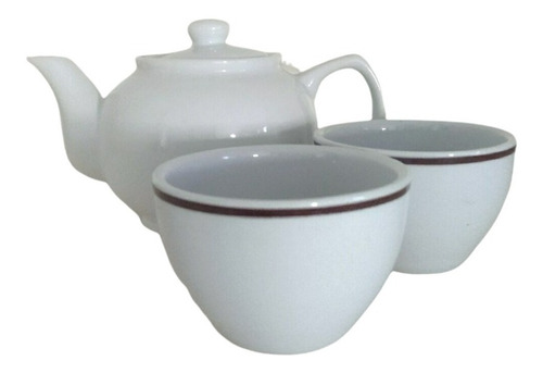 Imagen 1 de 7 de Tetera Porcelana Blanca 450 Cc + 2 Tazas Cuencos Juego De Té