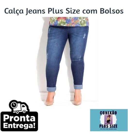 Calça Jeans Plus Size Com Bolsos - J7550