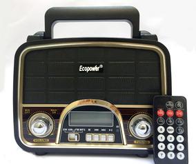 Rádio Retrô Portátil Am/fm Recarregavel Usb Sd Ecopower