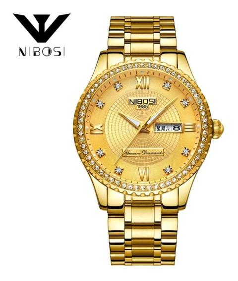 Relógio Grande Femininos Nibosi 2315 Dourado Prata Com Caixa