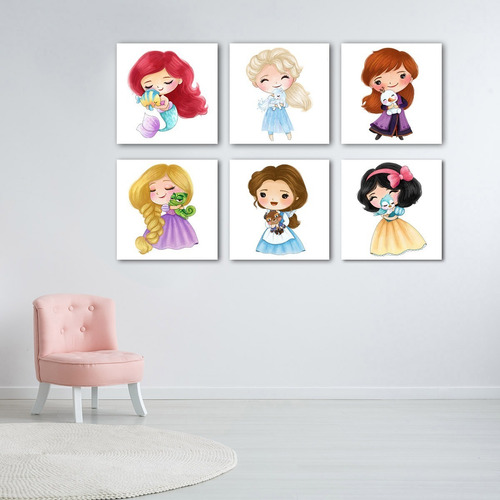 Imagen 1 de 10 de 6 Princesas Lapiz De Color Con Mascota Canvas  Decorativo