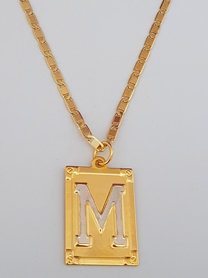 Corrente Cordão 60 Cm Pingente Letra M Banhado Ouro. C59m19