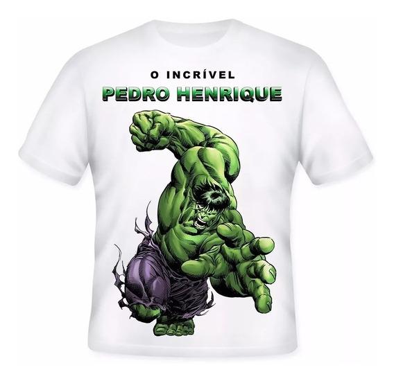 Camiseta Infantil - O Incrível Hulk - Nome Personalizada