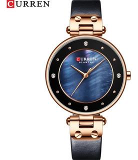 Relógio Feminino Curren 9056 Preto E Azul Pulseira Em Couro