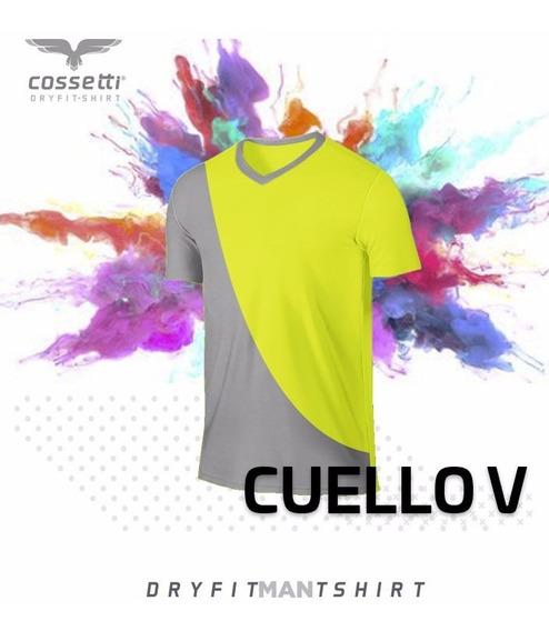 Playera Cuello V Cossetti Manga Corta Dry Fit Duo Fit