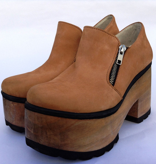 Zapatos Plataforma Mujer Madera Con Gamuza