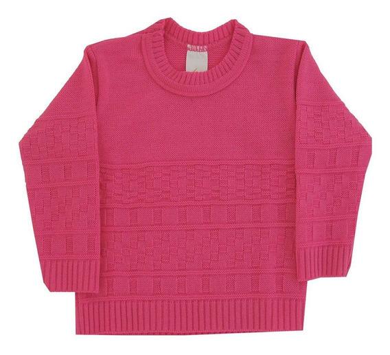 Blusa De Lã Em Tricot Infantil Feminino - Quadros - 1073c1