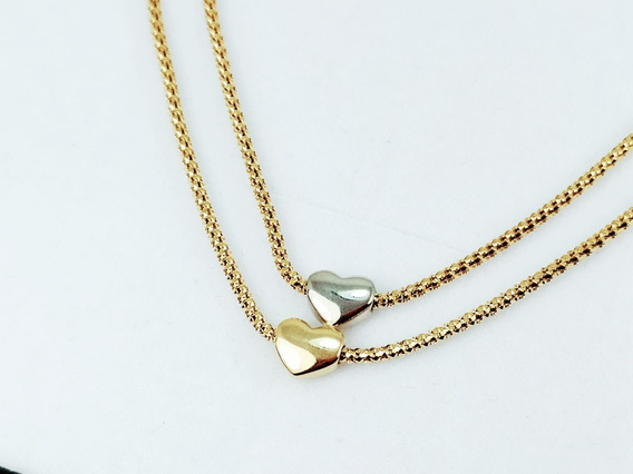 Colar Cordão Coração Feminino Maciço 41cm Ouro 18k 2691