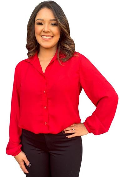 Camisa Social Vermelha Feminina