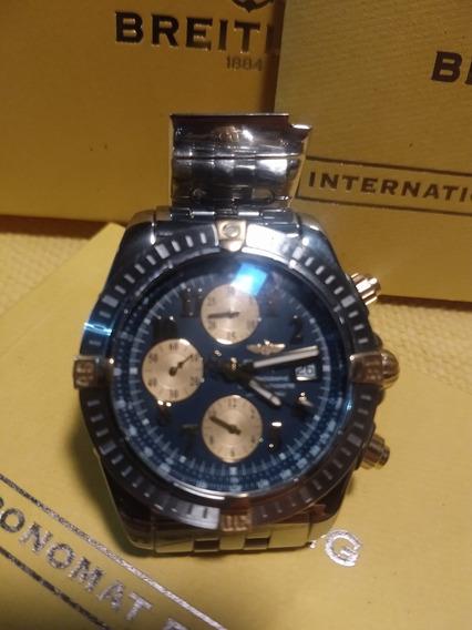 Relógio Breiting Chronographe Aço E Ouro