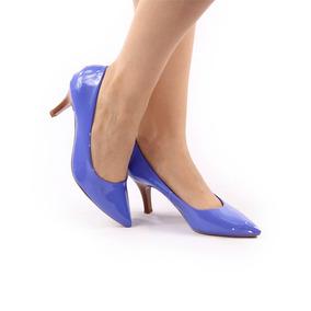 4b7e67bf84 Sapato Salto Baixo Azul Royal - Sapatos no Mercado Livre Brasil
