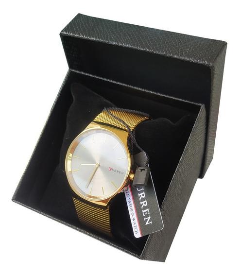 Relógio Dourado Luxo Original Curren + Caixa Unissex