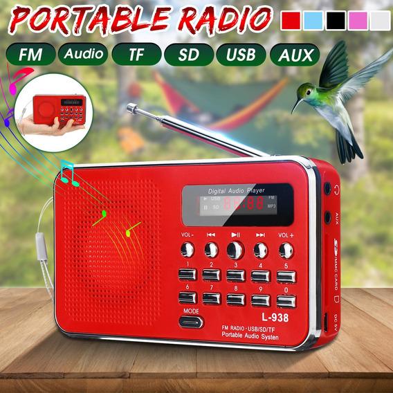 Rádio Portátil Fm/am/mp3/aux Seleção De Chave Digital Sem Fi