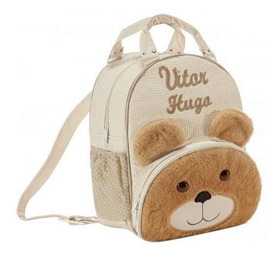 Mochila Personalizada Urso Para Menino G Mochila De Bebe