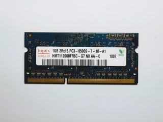 Memoria Ram Sodimm 1gb Ddr3 1066mhz / Pc3-8500 Mca. Hynix