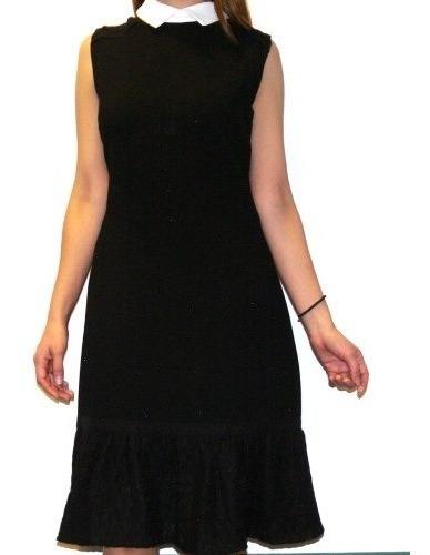 Vestido Negro Sin Mangas Cuello Blanco__ Karl Lagerfeld