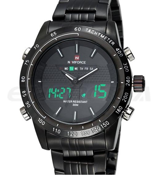 Relógio De Pulso Masculino Esportivo Naviforce Aço Led 9024