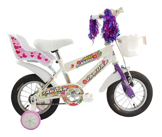 Bicicleta Infantil Niña Llanta Inflable Y Canasta Rodada 12