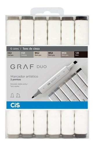 Marcador Cis Graf Duo Permanente Tons De Cinza C/6 Cores