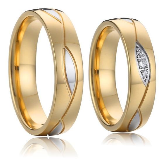 Par De Alianças 3 Banhos Noivado Casamento Banhadas Ouro 18