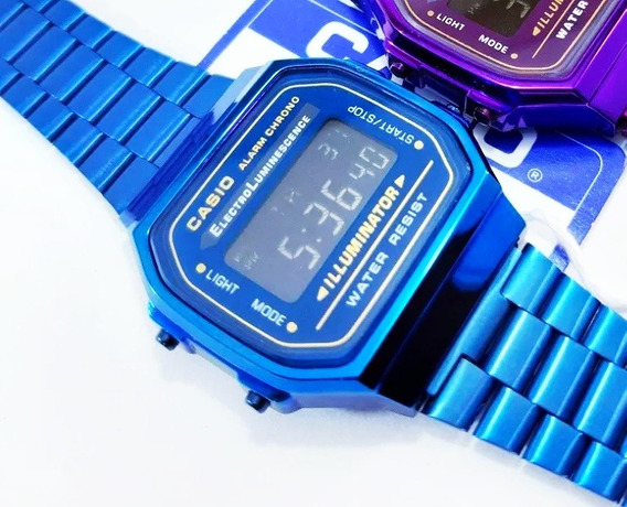 Reloj Casio Vintage Azul Digital Con Iluminación Y Alarma