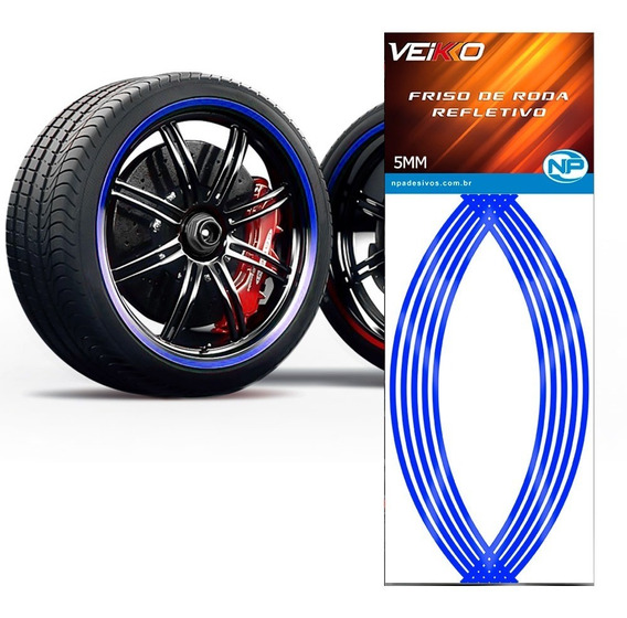 Adesivo Friso Fita Refletivo Roda Carro 5mm Azul Universal
