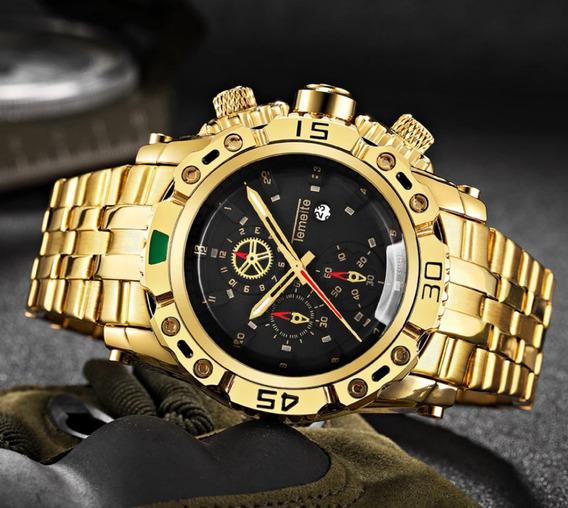 Relógio Masculino Dourado Temeite